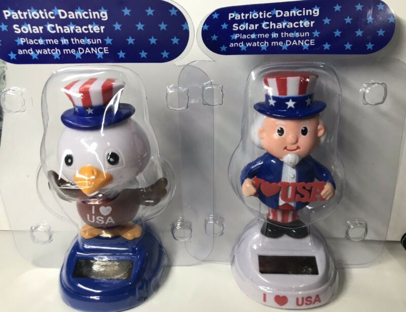 2 Patriotic Dancing Solar Characters I Love USA Eagle & Uncle Sam Toy Figures