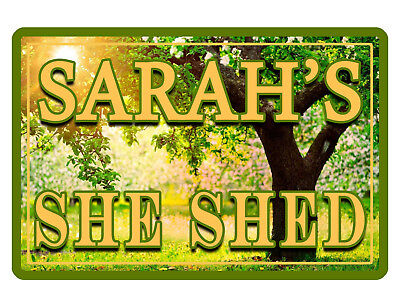 Personalized She Shed Sign Your Name Garden Aluminum Full Hi Gloss Color G491