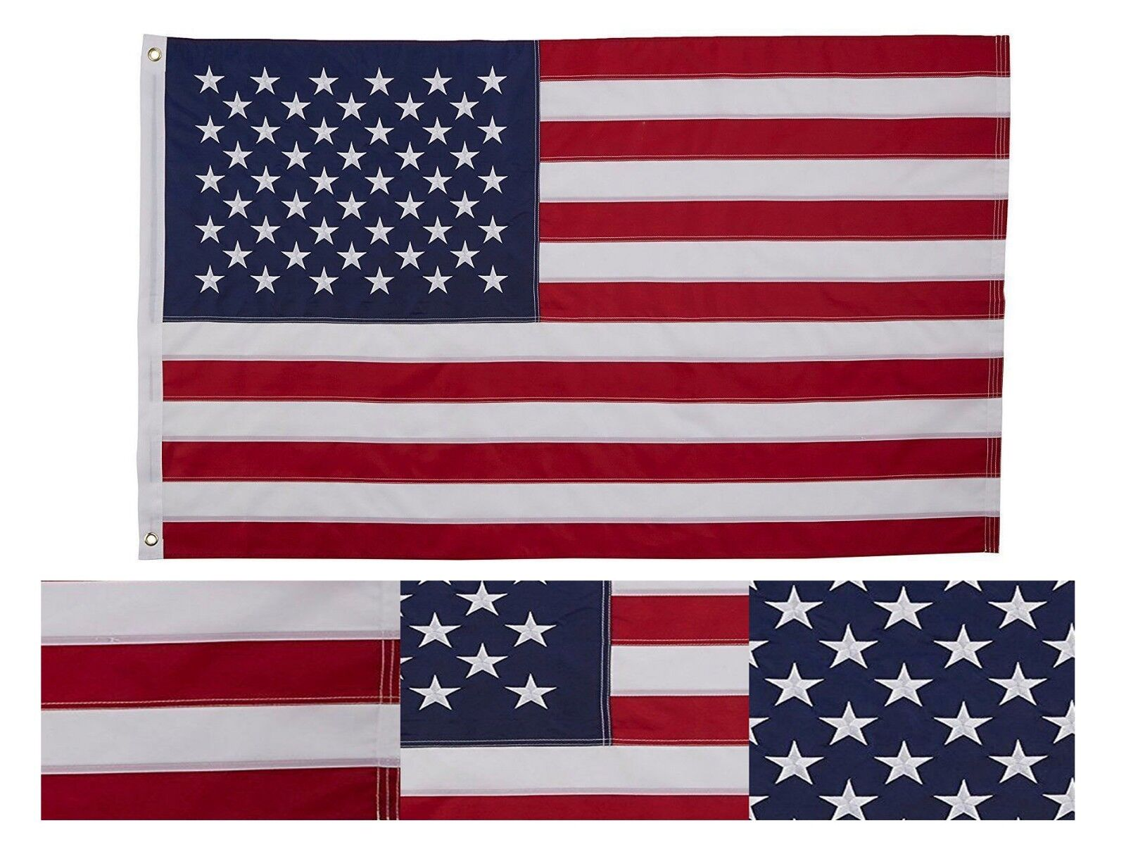 Embroidered USA Flag 2X3 Foot US Stars and Stripes American