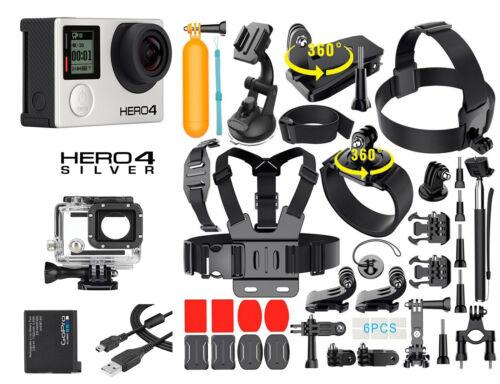 GoPro HERO 4 Silver Edition Camera +40PCS Accessory +OEM Battery+Waterproof Case
