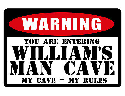 Personalized Man Cave Sign Your Name Warning Aluminum Full Gloss Color Wm494