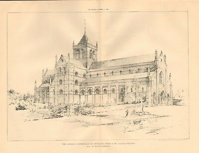 1893 ANTIQUE ARCHITECTURAL PRINT- CATHEDRAL-ORKNEY,ST MAGNUS DRAWING, MCGIBBON