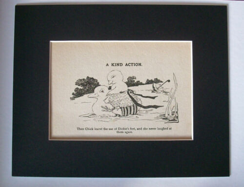Print Duckling Rides Duck Vintage Swimsuits 1930s Bookplate  8x10 Matted Cutie