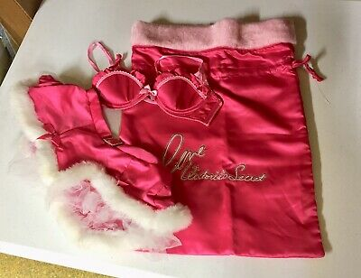 Victoria Secret's Sexy Little Things Costume 34B Bra Skirt Bag Christmas Santa