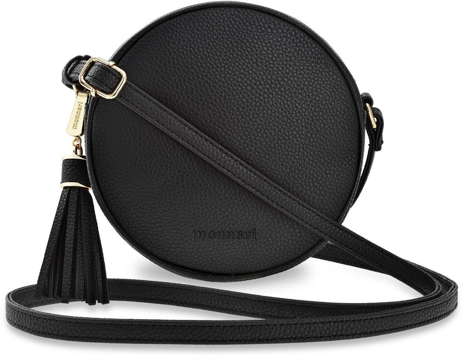 Monnari runde Damentasche Köfferchen Handtasche Markentasche Fransen schwarz