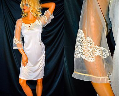 VTG Ivory BUTTER SOFT Nylon Sheer Chiffon Sleeve Nightgown Lounger Large XL