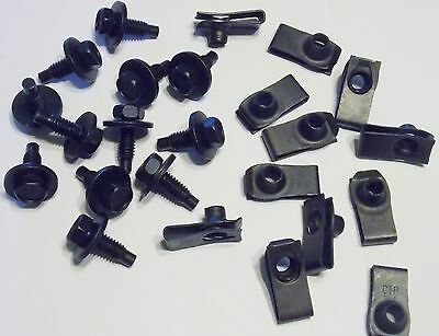 60-70 Ford Mercury Front Fender Black Bolt Kit Bolts Nuts Mustang (Ford Mercury Comet)