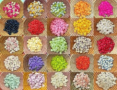 50 pcs. Mulberry Paper Flower embellishment with thread stem 10 mm. (Flower Embellishment)