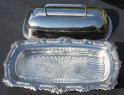 VINTAGE BUTTER DISH - GRAPES & VINES RIM - SILVER PLATED WITH GLASS