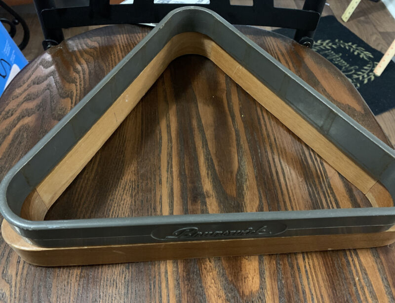 Vintage Brunswick Plastic  Pool Billiards Triangle Ball Rack Bonus Wooden Rack
