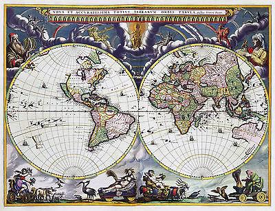 2 Reproduction Antique Old Colour Color Blaeu & Goos Decorative World Maps NEW