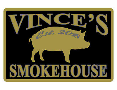 Personalized Smokehouse Bbq Sign Your Name Aluminum Full Gloss Color Smk495