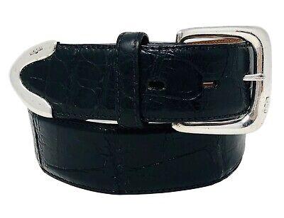 Polo Ralph Lauren Italy Genuine Alligator Belt Sterling .925 Silver Buckle Sz 28