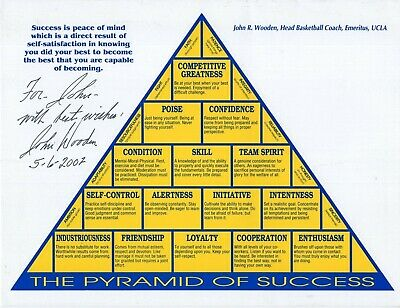 JOHN WOODEN HAND SIGNED 8x11 PYRAMID OF SUCCESS   UCLA COACH     FOR JOHN    JSA