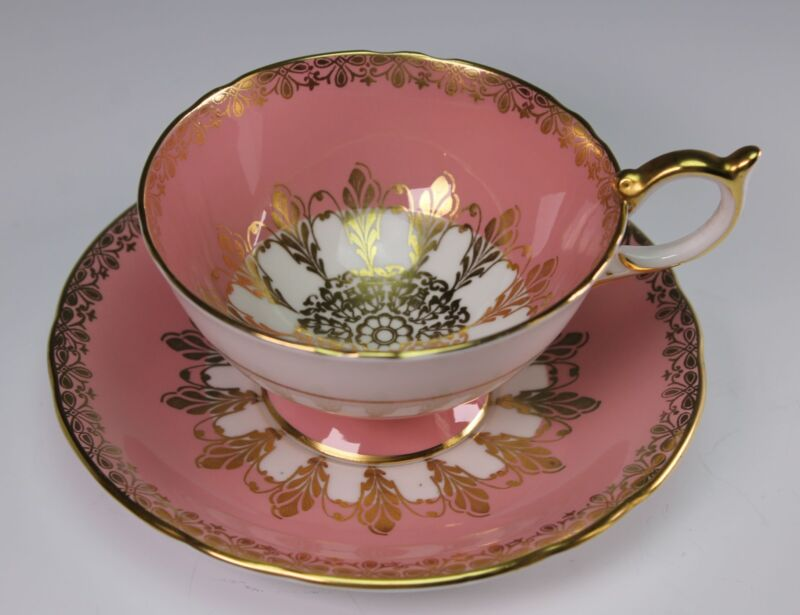 Aynsley China Hand Painted Pink and Gold Cup and Saucer