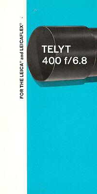 1960s LEICA TELYT f/6.8 400mm CAMERA LENS BROCHURE -for LEICA M & LEICAFLEX