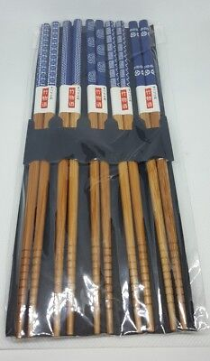 New! Uncle Fan Japanese Natural Wood Chopsticks 5 Sets