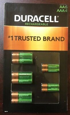 Duracell Rechargeable 6 AA & 4 AAA NiMH Precharged Batteries Long Life Ion Core