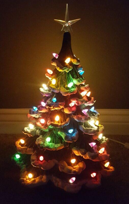 """RARE VINTAGE 21"""" Newells ? Mold Flocked Ceramic Christmas Tree Lights Beautiful"""