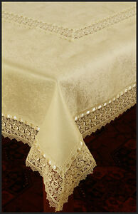Firenze Lace Tablecloth - Ecru - Rectangular 150 x 230cm - Polyester Jacquard