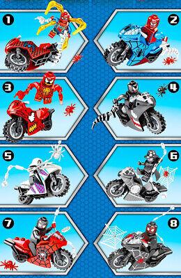Marvel Super Heroes Spider Man 8pcs Minifigures Motorcycle Set For Lego - USA
