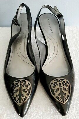 Tahari Slingback Heels 7M Black Silver Hardware Patent Leather EUC -