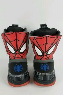 Spiderman Toddler Winter Snow Boots Light Up Size 5 Faux Fur