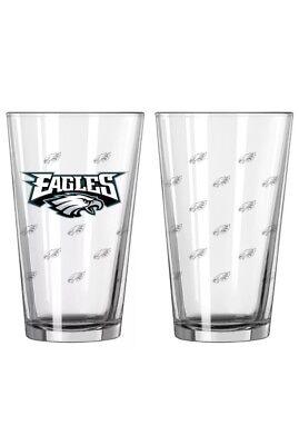 Philadelphia Eagles Satin Etch Pint Glass Set of 2  16oz New