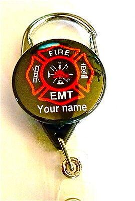 FIRE EMT INSIGNIA CARABINER ID BADGE HOLDER RETRACTABLE REEL,KEYS EMT,RESCU