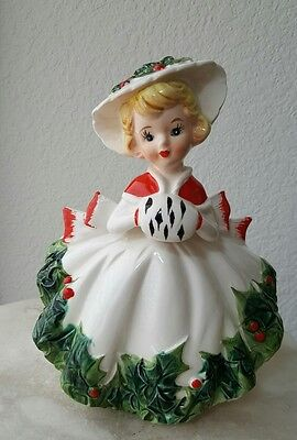 CHRISTMAS Relpo Shopper GIRL W/MUFF HOLLY Ceramic LG. PLANTER