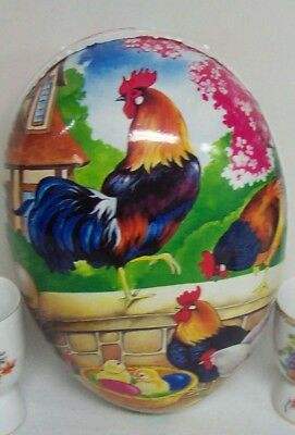 Vintage Extra Large 12 Inches EASTER Paper Mache EGG - Roosters Germany