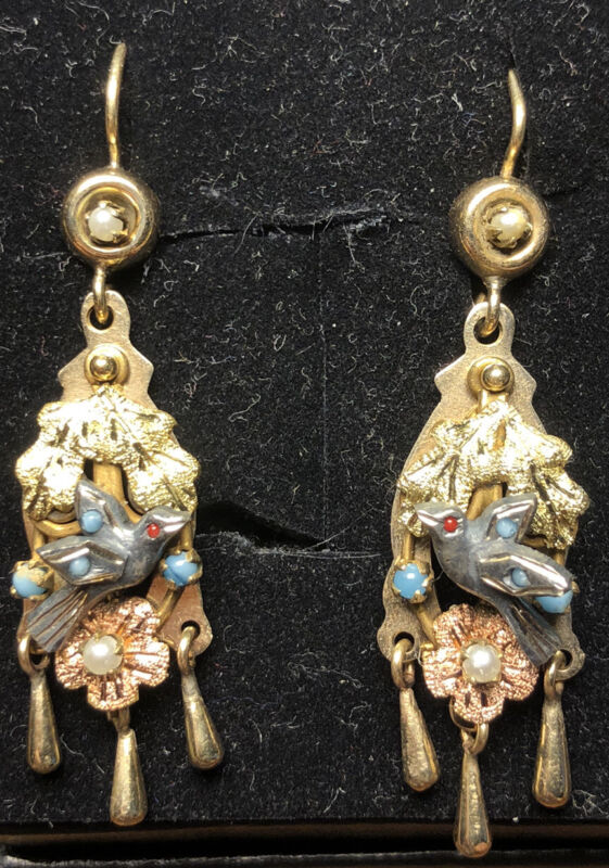 Victorian 14k gold and silver pearl turquoise Bird Earrings