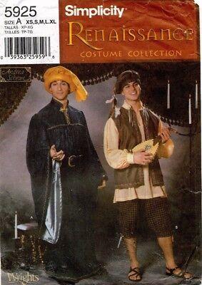 Simplicity Herren oder Jungen Renaissance Kostüm Muster 5925 Größe XS-XL (Renaissance Herren Kostüm Muster)