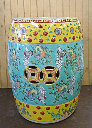 "Hand Painted Crane & Peach Longevity Porcelain Garden Stool 17""h x 13""w"
