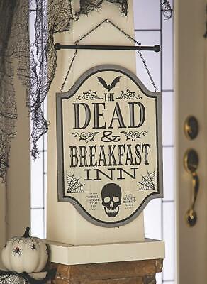 "The Dead & Breakfast Inn Hanging Sign Halloween Gothic Skull Bat Decoration 17""H"