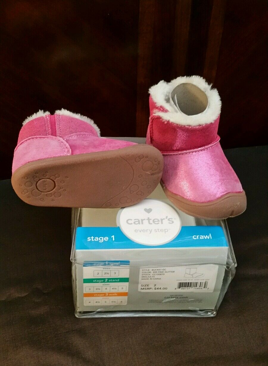 EUC Carter's Every Step Bucket GC Early Walker Boot (Infant) SZ 2 Pink 1
