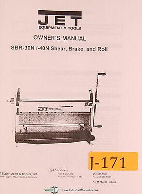 Jet Sbr-30n 50n Shear Brake And Roll Owners Manual