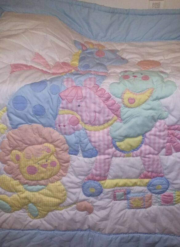 Vintage House Of Hatten Baby Quilt Gingham Giraffe, Lion, Horse And Bear