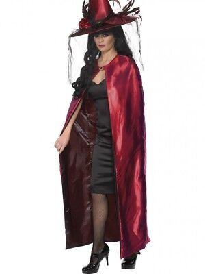 Halloween Kostüm Damen Satin Look Wendbar Hexe Umhang Rot Mantel - Satin Hexe Kostüm