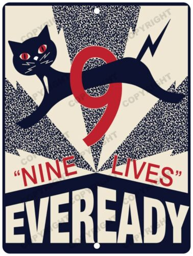 """EVEREADY BATTERY 9 Lives New Reproduction Vintage Look 9"""" x 12"""" Aluminum Sign"""