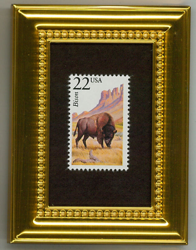 BISON - A COLLECTIBLE GLASS FRAMED POSTAGE MASTERPIECE!