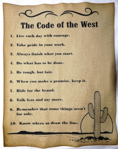 The Code of the West Poster, v3, cowboy, cowgirl, western, old west, wanted