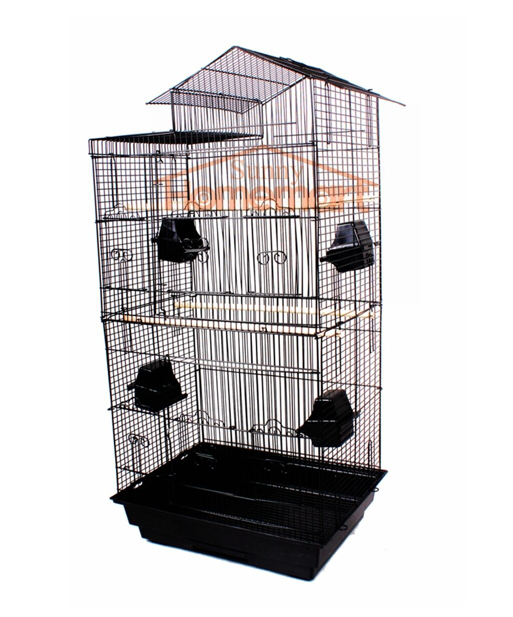 1 x New Black Elegant Traditinal House Top Bird Cage Carry Cage 94CM