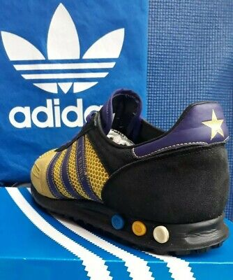 RARE!!! 2007 Adidas L A TRAINER  vintage originals yellow/purple...uk size 10