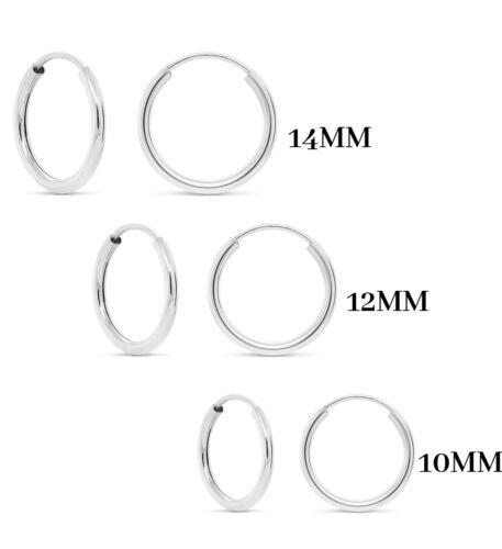 3 Pack 925 Solid Sterling Silver Hoop Earrings -Endless Hoop Earrings Set