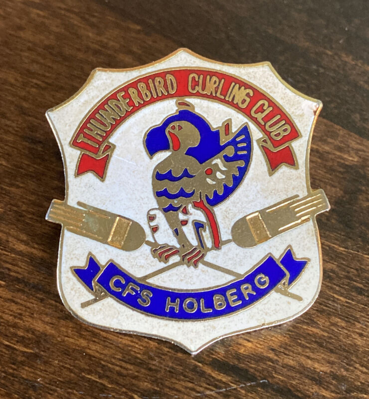 Vintage Thunderbird Curling Club Pin CFS Holberg