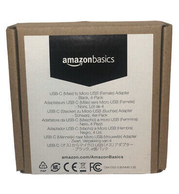 AmazonBasics Micro USB (Female) to USB-C (Male) Adapter Black, 4-Pack *LIKENEW*