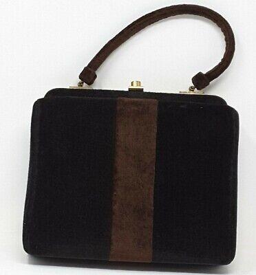 1950s Handbags, Purses, and Evening Bag Styles 1950s- 60s  Brown & Black Lewis Handbag $20.00 AT vintagedancer.com