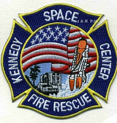 """N.A.S.A. - Kennedy Space Center  Fire - Rescue, FL  (4"""" x 4"""" size) fire patch"""