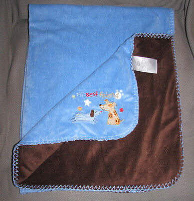 Koala Baby Blue My Best Friend Dog Baby Blanket Dark Brown Reversable Side Euc